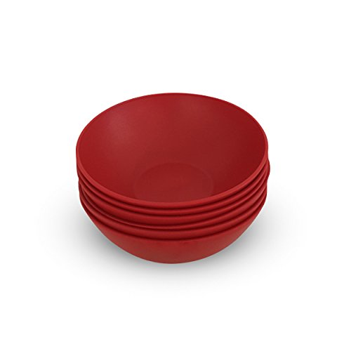 COZA DESIGN- Cozy Large Bowl Set- 17 oz (Set of 6, Bold Red) (Bowls Red)