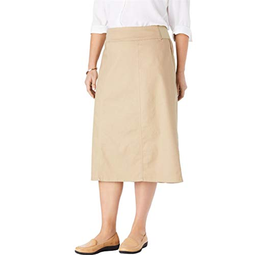(Woman Within Plus Size Smooth Waist A-Line Denim Skirt - Natural Khaki, 24 W)