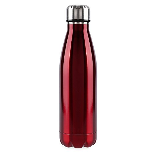 Water Bottle, OUTAD 18-Ounce Double Wall Vacuum Insulated Stainless Steel Water Bottle Perfect for Outdoor Sports Camping Hiking Cycling (Red)