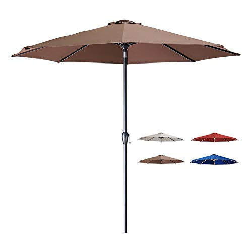 Tempera 10 Ft Patio Umbrella Outdoor Garden Table Umbrella with Crank and Auto-Tilt Function,8 Steel Ribs in 200G Chocolate Olefin