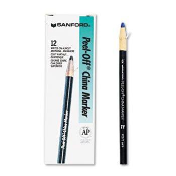 Sharpie 2072 Peel-Off China Markers Blue Dozen