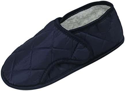 Men's Navy Edema Slipper for Swollen Feet-Opens Fully