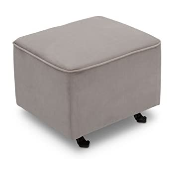 Delta Furniture Gliding Ottoman, Dove Grey With Soft Grey Welt