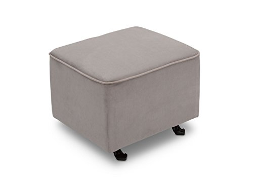 Delta Children Nursery Gliding Ottoman, Dove Grey w/Soft Grey Welt