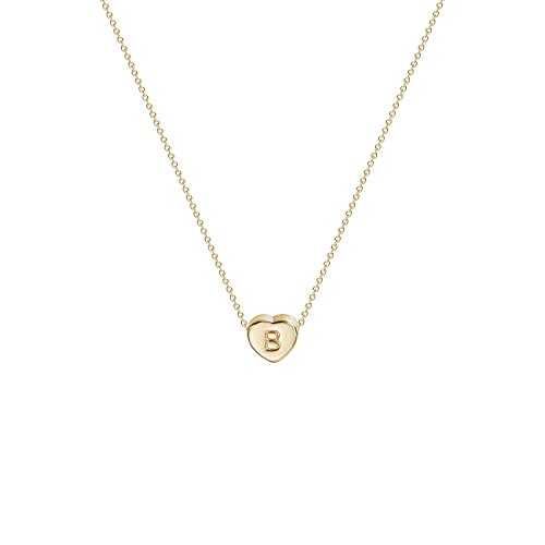 Tiny Gold Initial Heart Necklace-14K Gold Filled Handmade Dainty Personalized Heart Choker Necklace for Women Letter B