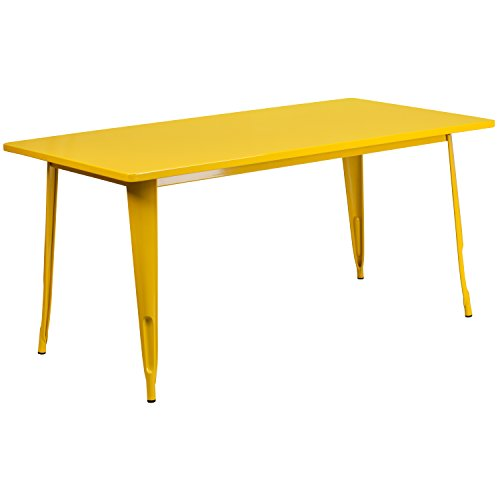 "Flash Furniture 31.5"" x 63"" Rectangular Yellow Metal Indoor-Outdoor Table"