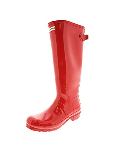 Shoe Red Womens Gloss (Hunter Women's Original Back Adjust Knee-High Rubber Rain Boot - 9M - Gloss Flare)