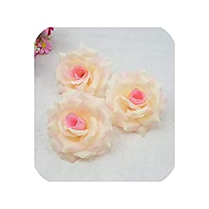 10cm Romantic Artificial Champagne Rose Handmade Silk Flower Party Decoration 39