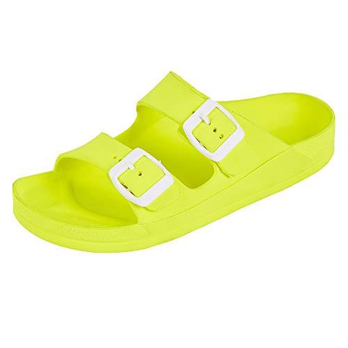 FUNKYMONKEY Women's Comfort Slides Double Buckle Adjustable EVA Flat Sandals (10 M US-Women, Fluo Yellow)