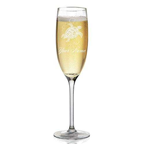 (Champagne Glass, Hawaiian Sea Turtle, Personalized Engraving Included)