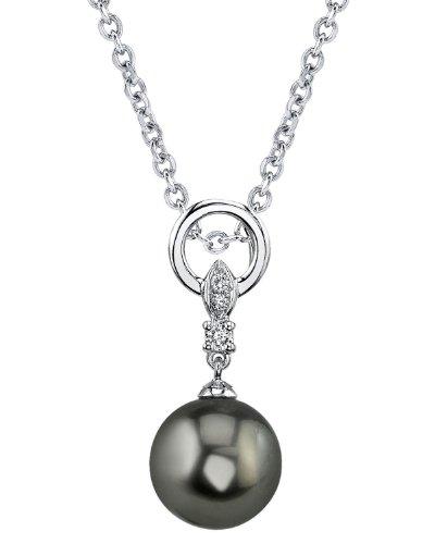 Or 14K diamant et perle de culture de Mer du sud de Tahiti NATALIA Pendentif