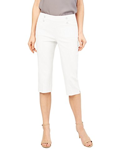 89th + Madison Women's Button Front Easy Fit Capri Bleached White