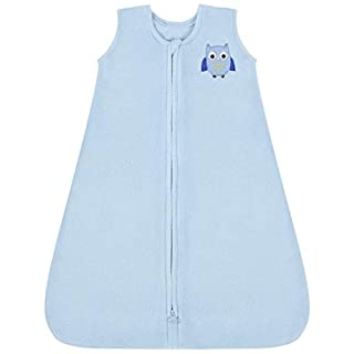 TILLYOU All Season Micro-Fleece Baby Sleep Bag and Sack with Inverted Zipper, Clothes for Toddler Boy Ages 18-24 Months, Sleeveless Warm Ultra Soft Plush Wearable Blanket TOG 1, X-Large XL, Blue Owl