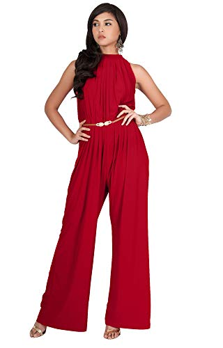 KOH KOH Womens Sexy Sleeveless Halter-Neck Wide Leg Pants Cocktail Overall Long Work Day Suit Pant Suits Pantsuit Playsuit Jumpsuit Jumpsuits Romper Rompers, Red M -