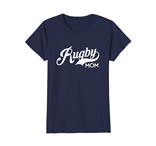 Womens Rugby Mom Women's Sports Apparel T-Shirt Small Navy (Rugby Womens Navy)