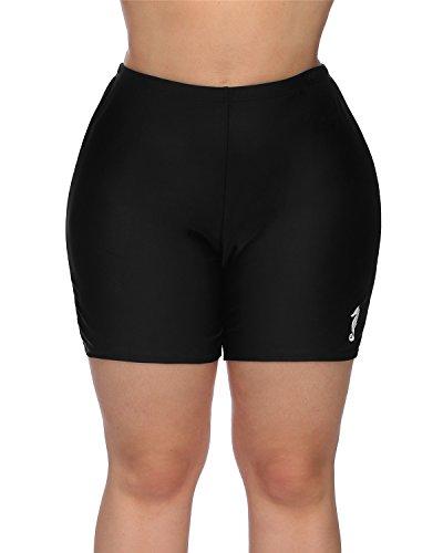 maysoul Women Plus Size Swim Shorts Boyleg Swimwear Shorts Solid Bikini Bottom 2X by maysoul (Image #1)