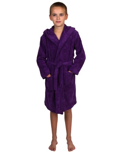 - TowelSelections Big Boys' Robe, Kids Hooded Cotton Terry Bathrobe Cover-up Size 10 Purple