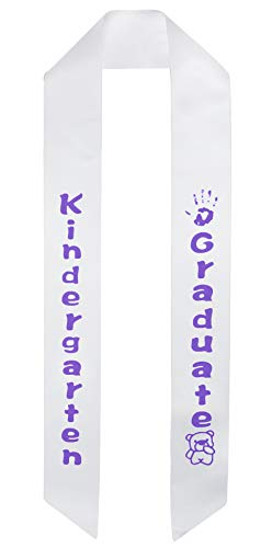 - GraduationMall White Satin Kindergarten Graduation Sash with Printed Bear for Kids in Purple Fonts