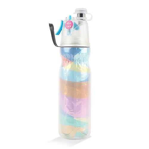 (laize Spray Mist Squeeze Bottle, Unique Antibacterial Lids Design Mist Water Bottle Unique Mist Lock Design,Insulated Drinking & Misting Sport Water Bottle Mist Sprayer, Outdoor Hydration 590ml )