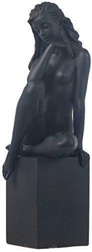 8.13 Inch Nude Female Statue Figurine Posing on Plinth, Black Color