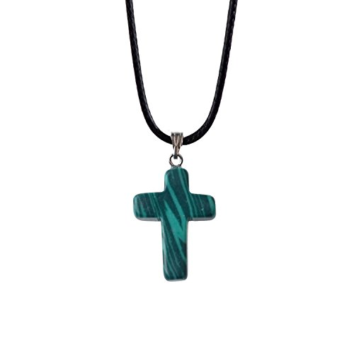 ZHEPIN Bless Gems Cross Pendant Necklace Healing Gemstone Symbol of Salvation, Good News