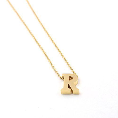(LANG XUAN His & Hers A-Z Letter Pendant Necklace Gold Minimalist Choker Jewelry for Women Gift (Letter R))