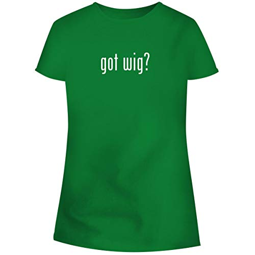 (One Legging it Around got Wig? - Women's Soft Junior Cut Adult Tee T-Shirt, Green,)