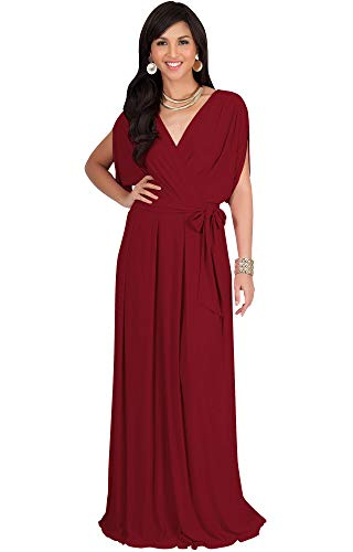 KOH KOH Petite Womens Long Semi-Formal Short Sleeve V-Neck Full Floor Length V-Neck Flowy Cocktail Wedding Guest Party Bridesmaid Maxi Dress Dresses Gown Gowns, Crimson Dark Red XS 2-4
