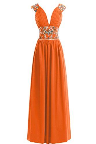 V Capsleeves Gowns sera Neckline con vestito Orange da A Line Sunvary qwRx6g1B
