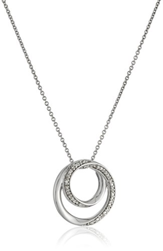Sterling Silver Diamond Accent Double Circle Pendant Necklace, 18