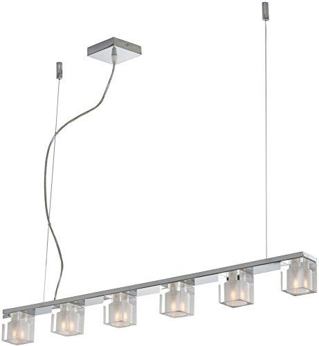 ET2 E22034-18 Blocs 6-Light Linear Pendant, Polished Chrome Finish, Clear/Frosted Glass, G9 Frost Xenon Bulb, 7.5W Max., Dry Safety Rated, 2700K Color Temp., Lucite Acrylic Shade Material, 1400 Rated (Lucite Pendant)