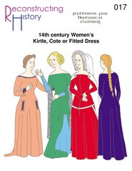14th Century Women's Kirtle or Cotehardie Pattern - 14th Century Elizabethan Costumes