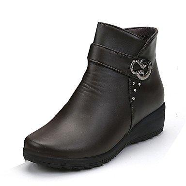 Casual Botas Puntera Hebilla Confort Negro RTRY Redonda Botas De CN38 Oscuro Talón Otoño EU38 5 UK5 Invierno Mujer Pu De Primavera Chunky Zapatos 5 Combate Marrón US7 6Aax608T