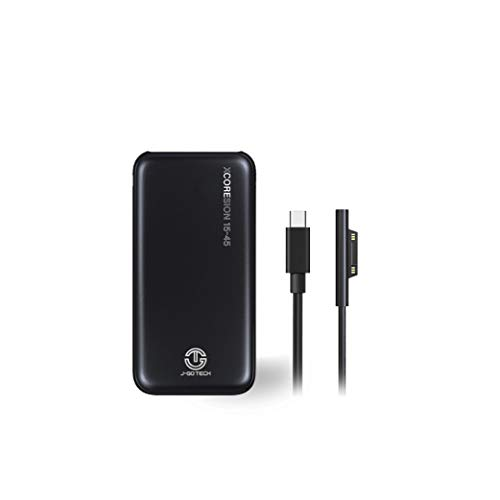 XCOREsion 15-45 by J-Go Tech | Smallest & Lightest Microsoft Surface Portable Charger | Only Weighs 12oz | Charger for Surface Pro 3/4/5/6, Laptop 1/2, Go, Book 1 (MS Surface Combo, 15,000mAh)