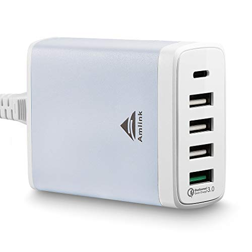 (USB C Wall Charger with Quick Charge 3.0, 40W 5 Port USB Type-C Desktop Charging Station for Home, Office,Travel All)