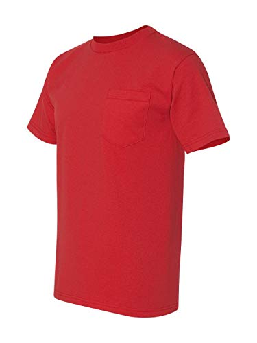 3015 Union Made: A Division of Bayside Adult Union Made Pocket Tee (Red) (3XL)