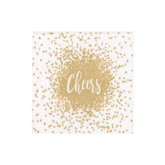 Caspari Cheers Gold Triple-Ply Boxed Cocktail Napkins Set of 40