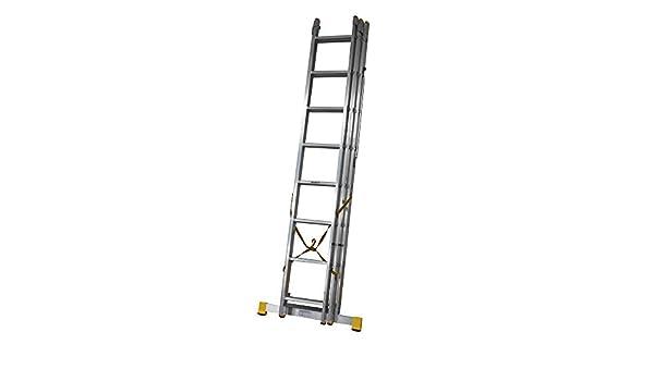 5.13 m Trade Master escalera extensible de 3 secciones (con estabilizador integrado PLUS escalera abrazaderas: Amazon.es: Bricolaje y herramientas