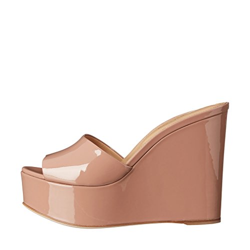 591b686c9e0a2a Ydn Femmes Hauts Talons Plate-forme Mules Peep Toe Sabots Glisser Sur Sandales  Compensées Glisser ...