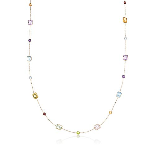 Ross-Simons 27.65 ct. t.w. Multi-Stone Station Necklace in 14kt Yellow Gold ()