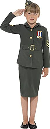 1940s Children's Clothing: Girls, Boys, Baby, Toddler Big Girls Ww2 Army Costume $53.20 AT vintagedancer.com