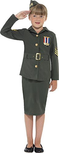Smiffy's Children's WW2 Army Girl Costume, Jacket, Skirt, Attached Belt and Hat, Ages 7-9, Size: Medium, Color: Khaki Green, 41104
