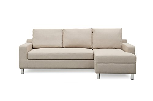 - Container Furniture Direct S0114-R Amelie Linen Upholstered Contemporary Modern Right-Sided Sectional Sofa Bed, 83.9