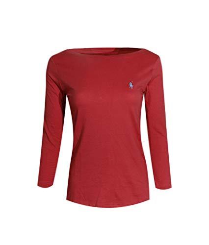 Polo Ralph Lauren Womens 3/4 Sleeve Boat Neck T-Shirt (X-Large, Nantucket Red (Light Blue Pony))