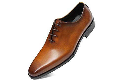 GIFENNSE Men's Leather Oxford Dress Shoes Formal Shoes Brown Dress Shoes Men (9.5US/Brown)