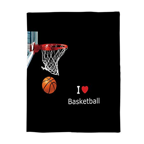 (Cozy Warm Lightweight Microfiber Throw Blankets,Soft Reversible Flannel Fleece Bed Throw Basketball Box I Love Basketball,Luxury Fuzzy Blankets for Adults/Girls/Kids/Boys/Dogs/Couch,49''W x)