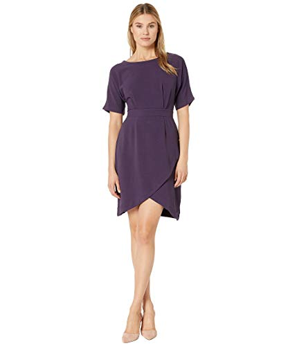 (Bobeau Women's Dolman Sleeve Wrap Dress Plum Medium)