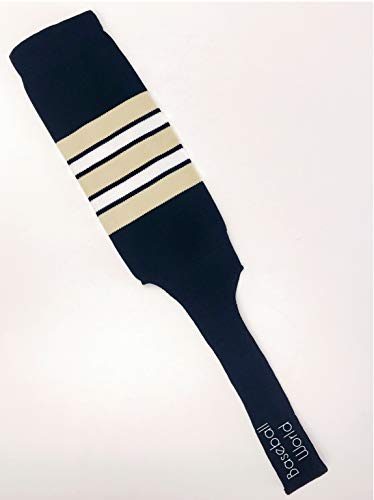 Baseball Stirrups 9″ Navy Blue with Vegas Gold, White and Navy Stripes