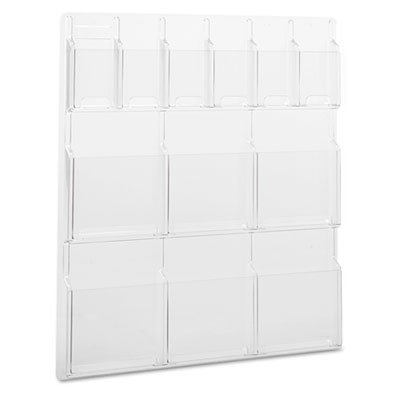 (Reveal Clear Literature Displays, 12 Compartments, 30w x 2d x 34-3/4h, Clear)