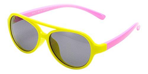 XFentech Unisexe Enfants Aviator Polarisées Lunettes de Soleil pour Garçons & Filles Monture en caoutchouc flexible Sport Lunettes Jaune/Rose